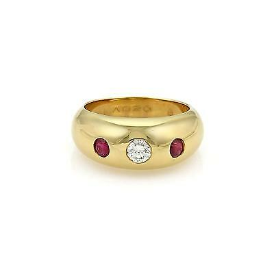 $2037.24 • Buy Cartier Gypsy Diamond & Ruby 18k Yellow Gold Dome Band Ring Size EU 50-US 5