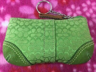 $9.99 • Buy Vintage Coach Auth Coins Purse / Key Chain Lime Green Canvas / Suede Leather