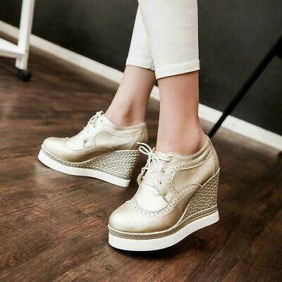 Fashion Women's Wedge Heel Brogue Wing Tip Casual Platform Breathable Shoes New  • 17.09£