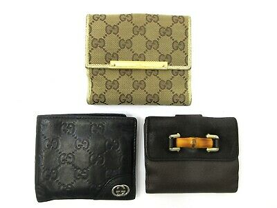 $38 • Buy Authentic 3 Item Set GUCCI Wallet GG Canvas Guccissima Bamboo Leather 84501