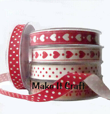 Cotton Ribbon For Wedding, Anniversary, Red Heart, Gift Wrap Valentine Gift Love • 4.95£