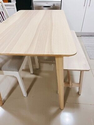 AU270 • Buy IKEA Dining Set Lisabo Dining Table Dining Chairs Wooden Bench