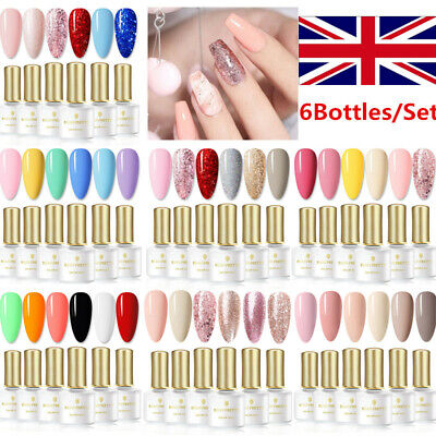 6 Pcs/Set BORN PRETTY 6ml UV Gel Polish Glitter Soak Off Nail Art Varnish Decor • 10.99£