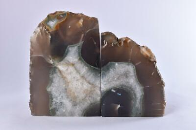 £34.99 • Buy Large Grey Polished Cut Base AGATE Geode BOOKEND Pair - Brazil 1.73kg