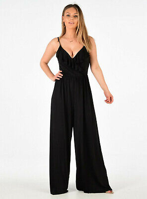 Ladies Womens Wide Leg Palazzo Strappy Romper All In One Harem Jumpsuit Size • 8.99£