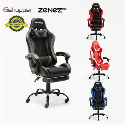 AU139.99 • Buy ZENEZ Gaming Chair Computer Executive Office Chairs Racing PU Leather Footrest