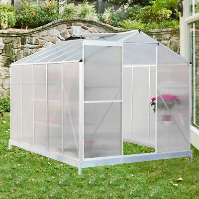 Polycarbonate Outdoor Garden Patio Greenhouse Clear Walk-In Aluminium Metal Shed • 235.95£