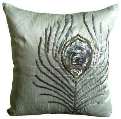 60x60 Cm Luxury Large Cushion Cover Grey Silk, Feather - Peacock • 35.48£