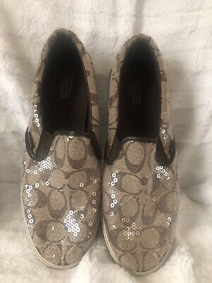 $29.90 • Buy Coach Kivy Signature Brown Beige Sequin Slip On Loafers Flats Casual Womans 8.5