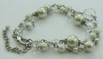 £6.30 • Buy Pretty 2 Strand Silver Coloured Metal, Faux Pearl & Faceted Clear Bead Bracelet