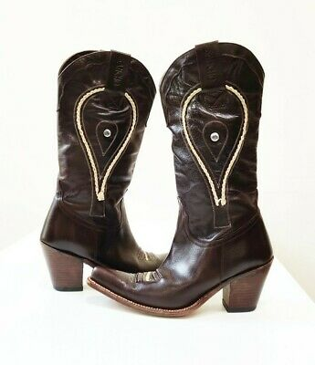 Sancho Boots| Women's Brown Leather Cowboy Boots Size 7 Made In Spain • 78.86£