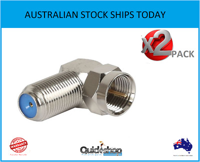 AU5.89 • Buy 2 X F Type Right Angle Plug To Socket Coax Coaxial Cable RF TV Antenna Connector