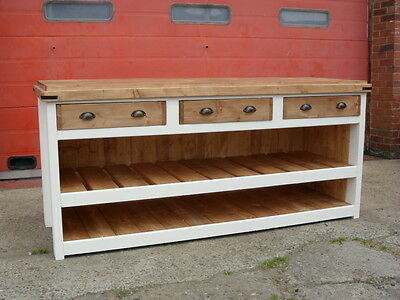 Shop / Kitchen Counter, Solid Pine, Solid Back And Sides.  Block Style Top • 790£