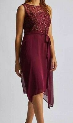 NEW Ex DP RRP £40 Burgundy Lace Fit & Flare Hem Holiday Summer Dress Size 10-18  • 8.99£
