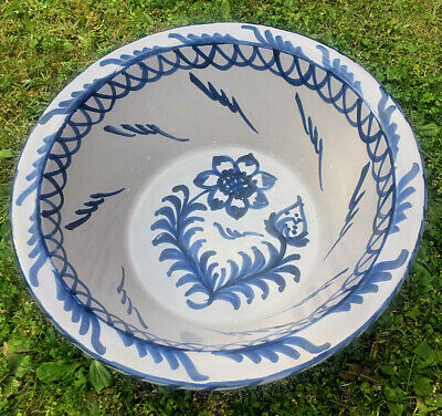 Huge Spanish Andalusian Handmade Pottery Bowl Blue And White Glaze 45 Cms Diam • 125£