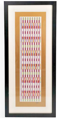 $750 • Buy YAACOV AGAM  Vertical Orchestration Purple On Gold  Lim. Edition Serigraph W COA