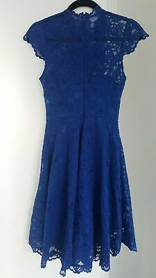 AU33.50 • Buy Forever New Blue Lace Dress Size 6 Sheer Neckline