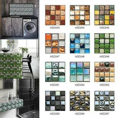 UK Mosaic Tile Stickers Stick On Bathroom Kitchen Home Wall Decals Self-adhesive • 3.99£
