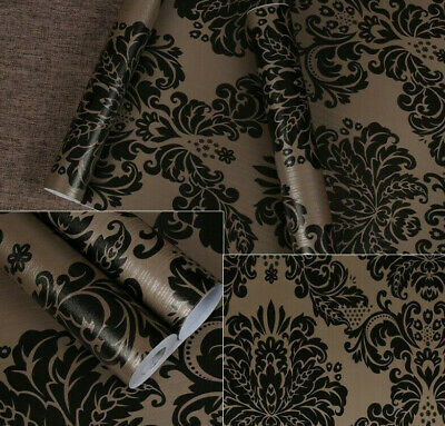 Black Damask Flower Self-Adhesive Wallpaper Decor Bedroom Home 45x200cm Rolls • 6.99£