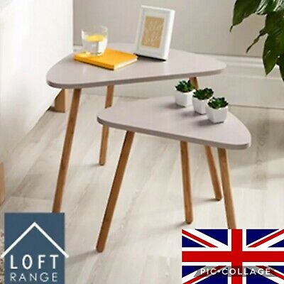 Home Decor Bedroom Mink Side Coffe Activity Loft Nesting Table Set Of 2 New • 29.99£