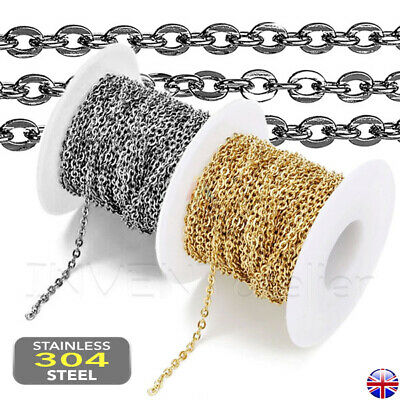£2.98 • Buy STAINLESS STEEL Flat Cable Link Chain Necklace Hypoallergenic JEWELLERY MAKING