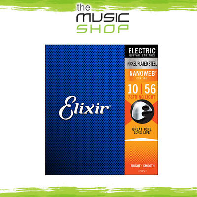 AU34.95 • Buy Elixir Nanoweb 7 String Electric Guitar Strings - 10-56 - 12057