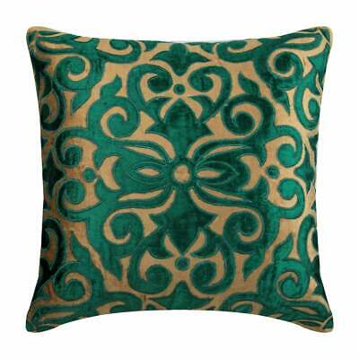 60x60 Cm Decorative Euro Cushion Pearl Beige Velvet - Loyal To Peacock Green • 42.52£