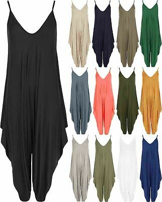 Womens Cami Harem Jumpsuit Lagenlook Romper All In One Ladies Hareem Playsuit • 9.95£