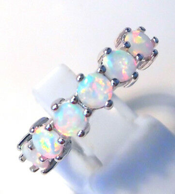 GORGEOUS WHITE  FIRE OPAL  RING UK Size  R  US 9 • 17.99£