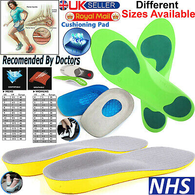 Orthotic Insoles For Arch Support Plantar Fasciitis Flat Feet Back & Heel Pain   • 2.95£