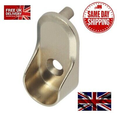 OVAL WARDROBE RAIL END SUPPORTS Rail Brackets 15mm Wide Nickel Plated Silver • 1.33£