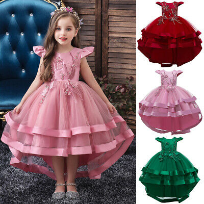 Kids Girls Tulle High Low Party Dress Princess Bridesmaid Wedding Prom Ball Gown • 11.19£
