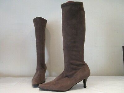 Next Brown Stretch Long Heeled Pull On Boots Uk 7 Eu 41 (3535) • 20£