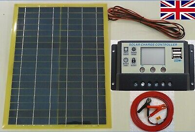 20w Solar Panel /w 7m Cable & 10A 12v LCD 2 X USB Charger Controller & Bat Clips • 36.95£