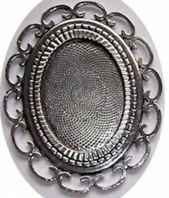 £1.95 • Buy Cameo Setting Cabochon Mounting Antique Silver 40x30mm Large Filigree  426x
