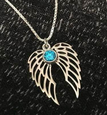 Angel Wing Birthstone Memorial Necklace • 30.75£