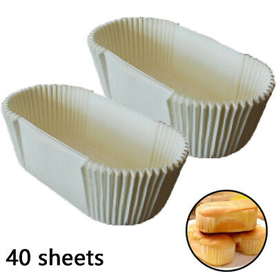 40 Pcs Oval Paper Cake Tin Liner Non Stick Cupcake Mould Kitchen Cooking Baking • 2.09£