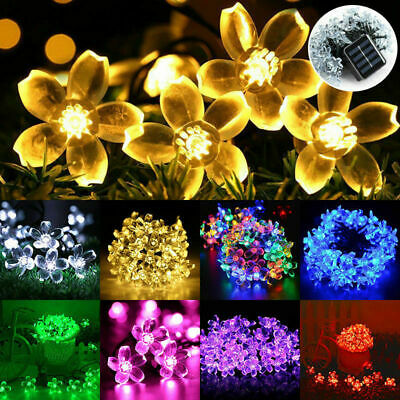 50 LED Solar Powered Fairy String Flower Lights Outdoor Garden Party Decor • 8.99£