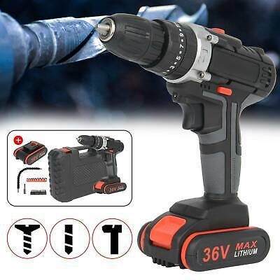 £27.99 • Buy 36V 2Speed Cordless Combi Impact Electric Drill Screwdriver & CASE 2x Batteries
