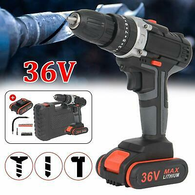 View Details 36V 2Speed Cordless Hammer Impact Electric Drill Screwdriver & CASE 2x Batteries • 36.99£