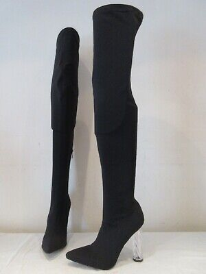 Pdxhb Black Stretch Thigh High Heel Pull On Boots Uk 5 (3536) • 20£