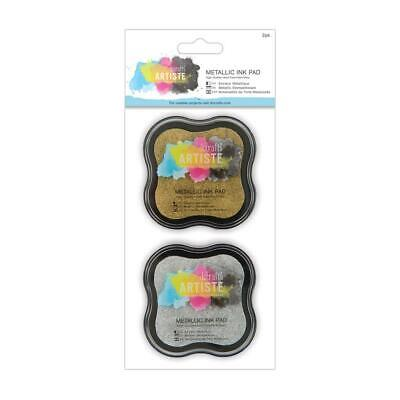 Gold & Silver Metallic Pigment Ink Pad Stamp - Set Of 2 - Docrafts Artiste Craft • 6.95£