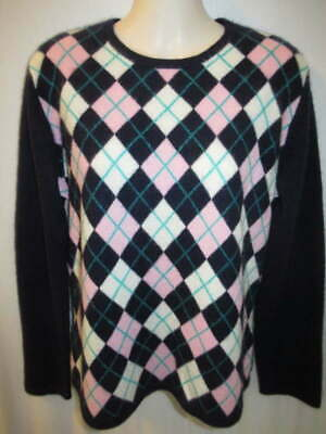 $12.55 • Buy Lands End 100% Cashmere Navy Pink Argyle Crew Sweater M 10 12 May Fit PM