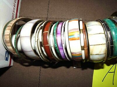 $ CDN51.71 • Buy Huge Lot A Of Inlaid Bracelets Jewelry Stone, Mother Of Pearl & More *lqqk*