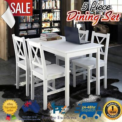 AU329.97 • Buy Dining Set Table And Chairs Kitchen Furniture 5 Piece White Wooden Indoor Dinner