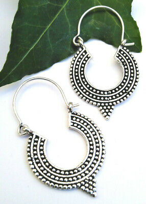 £3.99 • Buy Hoop Drop Earrings Festival Silver Colour Hippy Indian Boho Gothic Ethnic Gift 1