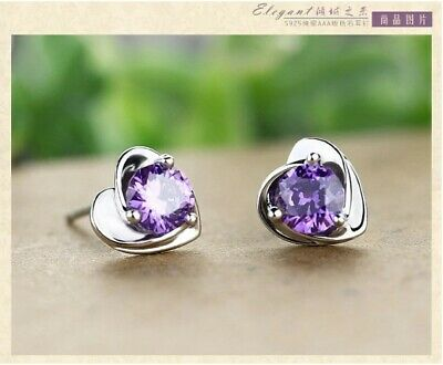 Natural Amethyst Rose Shape 925 Sterling Silver Stud Earrings UK Seller • 10.49£