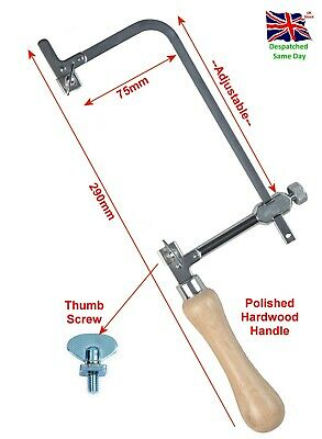 Adjustable 75mm Piercing Saw Frame Jewellers Tool Chrome Wooden Handle • 7.99£