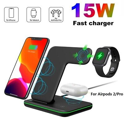AU38.98 • Buy 15W Fast Qi Wireless Charger Charging Dock 3in1 For IWatch 5/4/3/2/1 IPhone 11 X