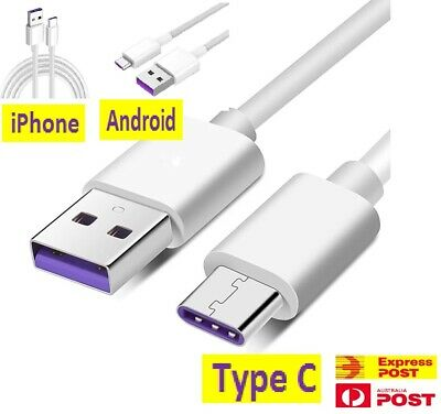 AU4.99 • Buy 5A IPhone Android Type C HUAWEI Phone Fast Charging Data Sync Micro USB Cable